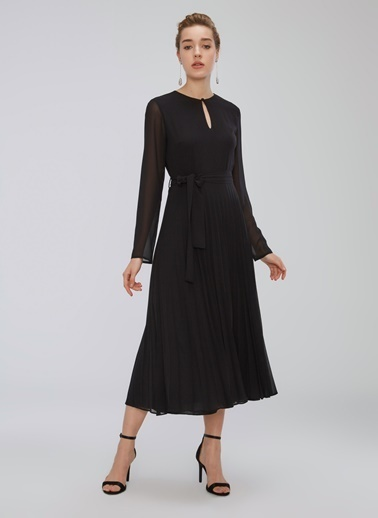 People By Fabrika Piliseli Yakası Düğme Detaylı Elbise Siyah